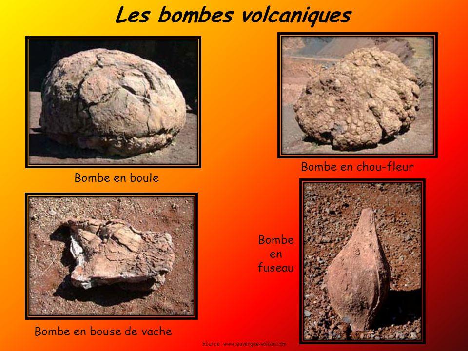 Les bombes volcaniques Bombe en boule Bombe en bouse de vache Bombe en chou-fleur Bombe en fuseau Source : www.auvergne-volcan.com