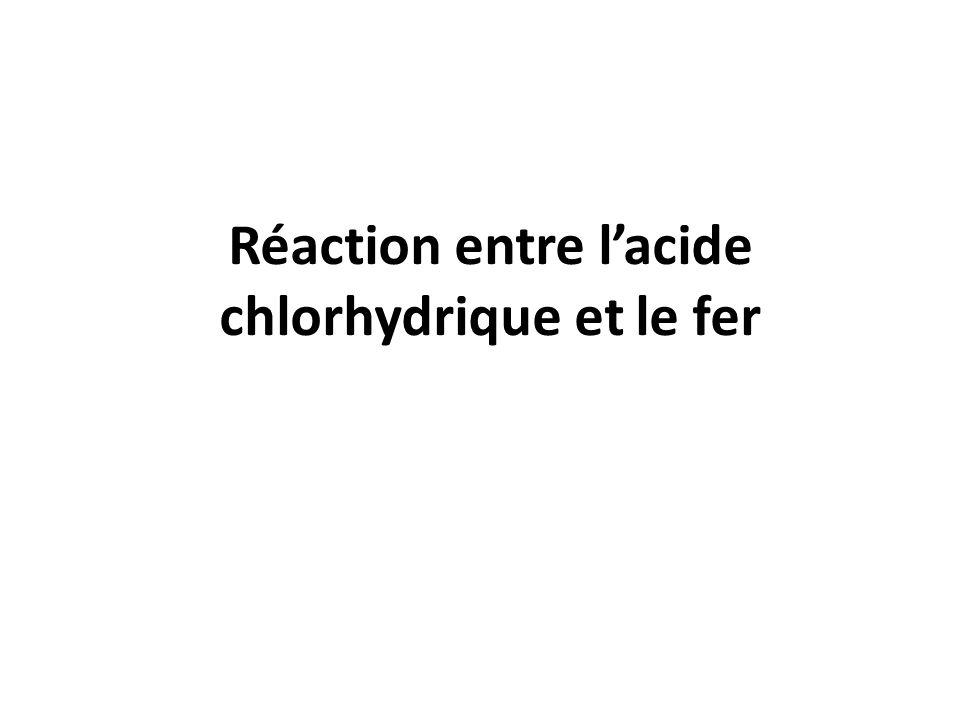 Réaction entre l'acide chlorhydrique et le fer