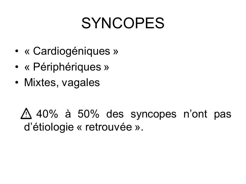 SYNCOPES « Cardiogéniques » « Périphériques » Mixtes, vagales 40% à 50% des syncopes n'ont pas d'étiologie « retrouvée ».