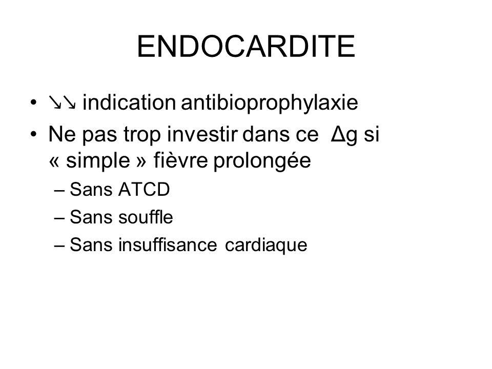 ENDOCARDITE ↘↘ indication antibioprophylaxie Ne pas trop investir dans ce Δg si « simple » fièvre prolongée –Sans ATCD –Sans souffle –Sans insuffisance cardiaque