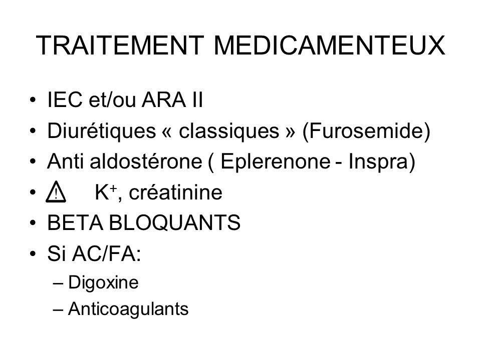 TRAITEMENT MEDICAMENTEUX IEC et/ou ARA II Diurétiques « classiques » (Furosemide) Anti aldostérone ( Eplerenone - Inspra) K +, créatinine BETA BLOQUANTS Si AC/FA: –Digoxine –Anticoagulants