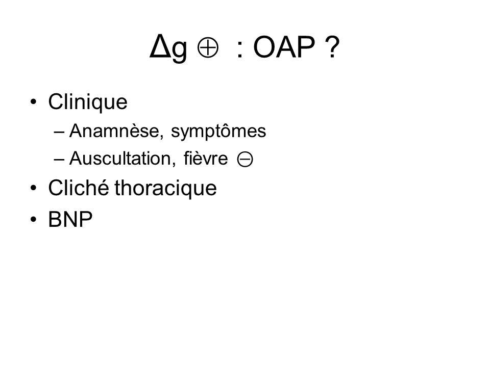 Δ g  : OAP ? Clinique –Anamnèse, symptômes –Auscultation, fièvre ⊝ Cliché thoracique BNP