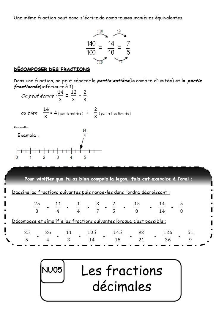 Exemple : NU05 Les fractions décimales