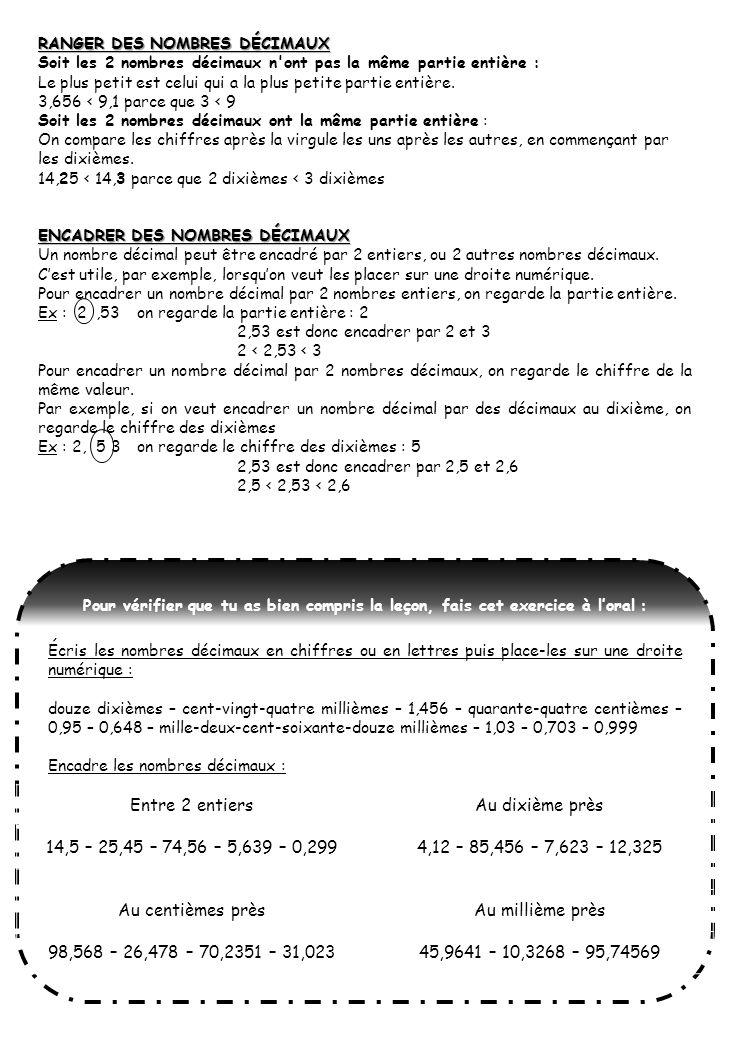 RANGER DES NOMBRES DÉCIMAUX Soit les 2 nombres décimaux n'ont pas la même partie entière : Le plus petit est celui qui a la plus petite partie entière