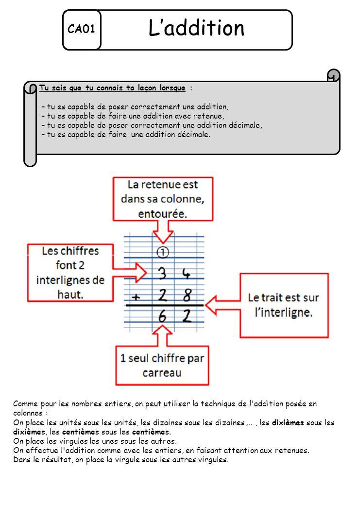 Comme pour les nombres entiers, on peut utiliser la technique de l'addition posée en colonnes : On place les unités sous les unités, les dizaines sous