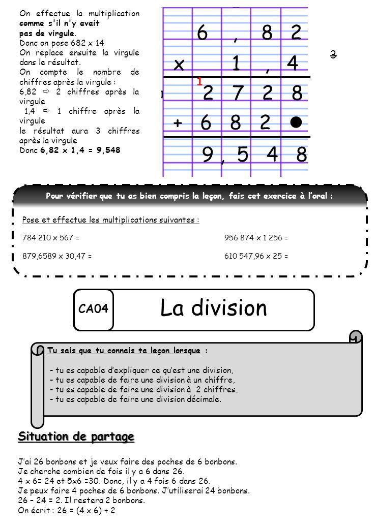 On effectue la multiplication comme s'il n'y avait pas de virgule. Donc on pose 682 x 14 On replace ensuite la virgule dans le résultat. On compte le