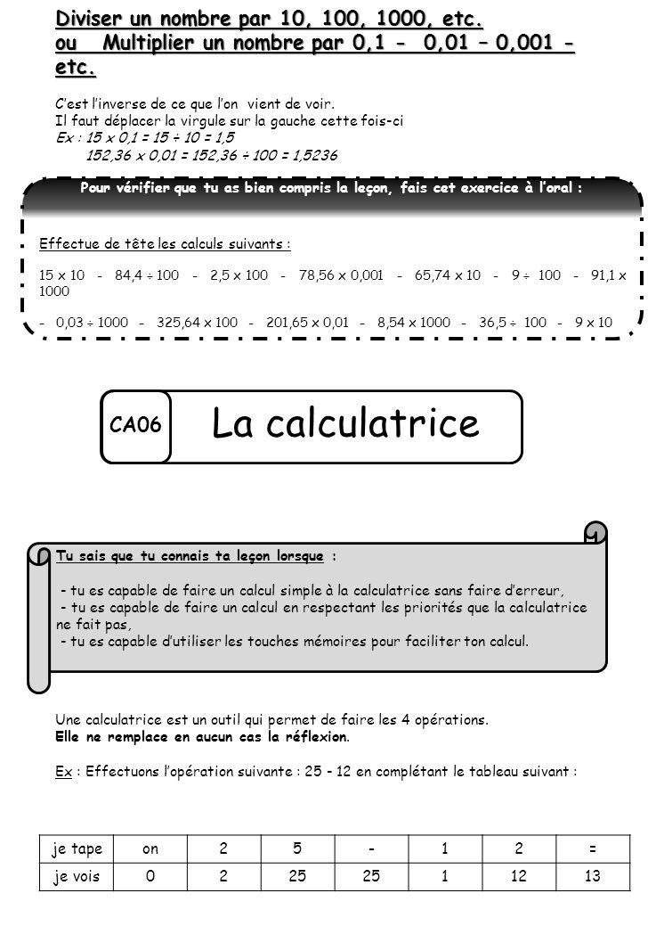 CA06 La calculatrice Diviser un nombre par 10, 100, 1000, etc. ou Multiplier un nombre par 0,1 - 0,01 – 0,001 - etc. C'est l'inverse de ce que l'on vi