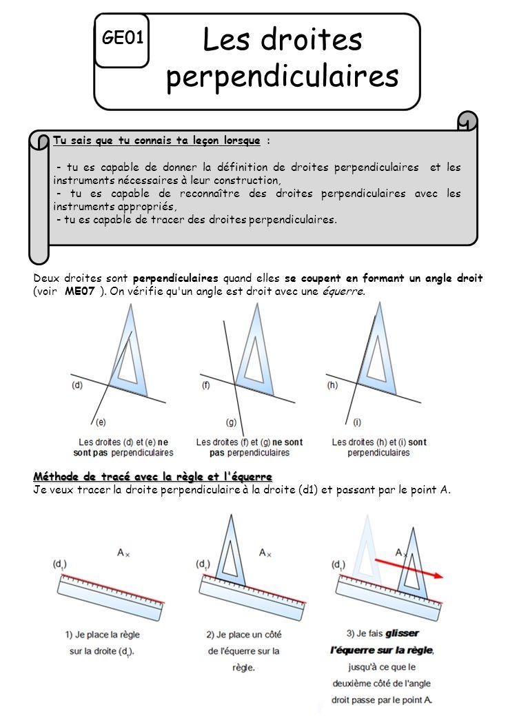 GE01 Les droites perpendiculaires Deux droites sont perpendiculaires quand elles se coupent en formant un angle droit (voir ME07 ).