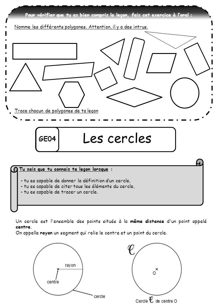 GE04 Les cercles Un cercle est l'ensemble des points situés à la même distance d'un point appelé centre. On appelle rayon un segment qui relie le cent