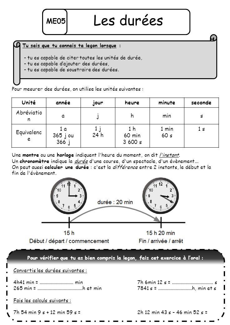 ME05 Les durées Pour mesurer des durées, on utilise les unités suivantes : Une montre ou une horloge indiquent l'heure du moment, on dit l'instant. Un