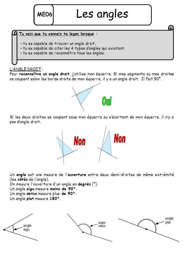 ME06 Les angles L'ANGLE DROIT : Pour reconnaître un angle droit, j'utilise mon équerre. Si mes segments ou mes droites se coupent selon les bords droi
