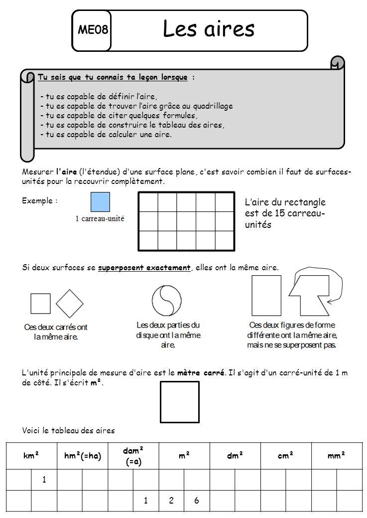 ME08 Les aires Mesurer l'aire (l'étendue) d'une surface plane, c'est savoir combien il faut de surfaces- unités pour la recouvrir complètement. Exempl