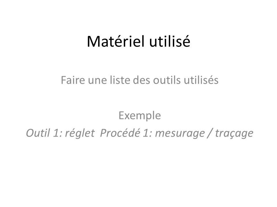 Matériel utilisé Faire une liste des outils utilisés Exemple Outil 1: réglet Procédé 1: mesurage / traçage