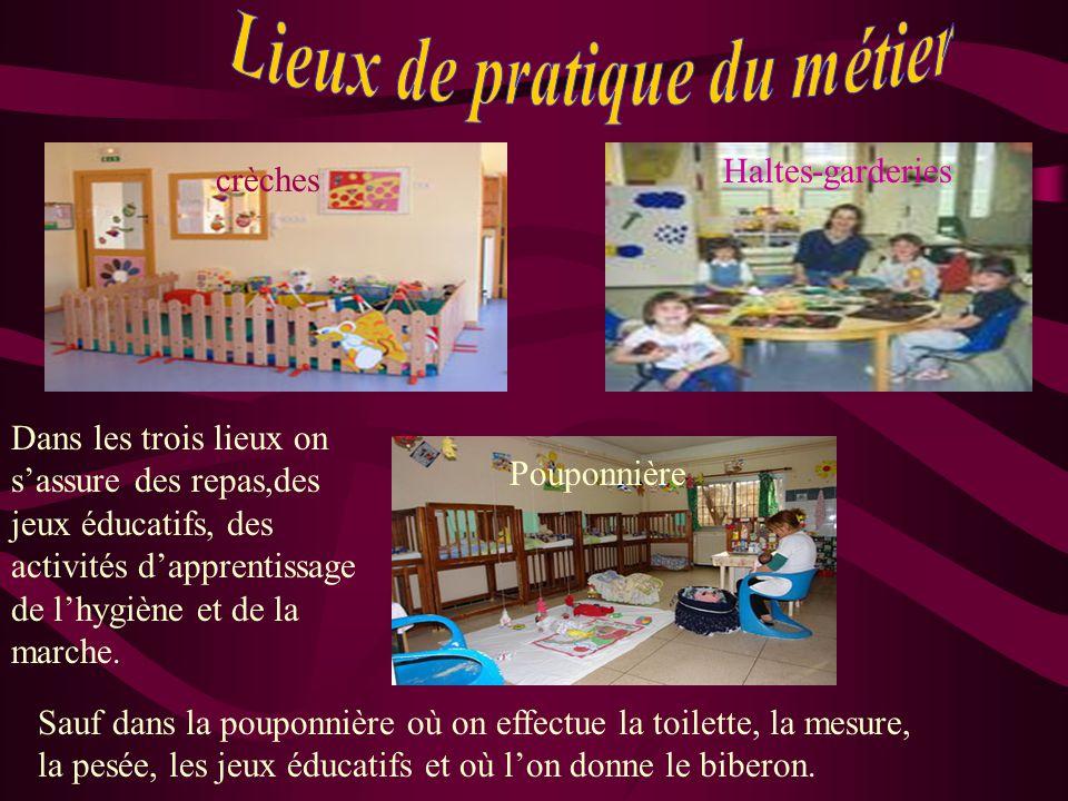 crèches Haltes-garderies Pouponnière Dans les trois lieux on s'assure des repas,des jeux éducatifs, des activités d'apprentissage de l'hygiène et de la marche.