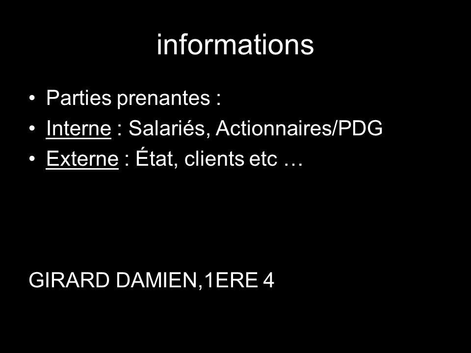 informations Parties prenantes : Interne : Salariés, Actionnaires/PDG Externe : État, clients etc … GIRARD DAMIEN,1ERE 4
