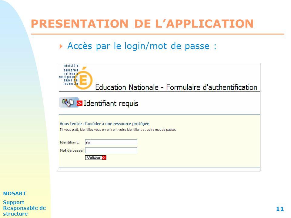 MOSART Support Responsable de structure 11 PRESENTATION DE L'APPLICATION  Accès par le login/mot de passe :
