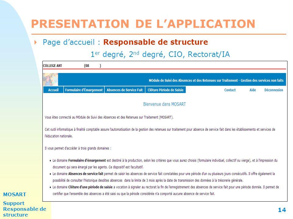 MOSART Support Responsable de structure 14 PRESENTATION DE L'APPLICATION  Page d'accueil : Responsable de structure 1 er degré, 2 nd degré, CIO, Rectorat/IA