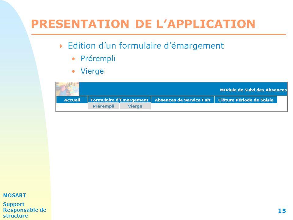 MOSART Support Responsable de structure 15 PRESENTATION DE L'APPLICATION  Edition d'un formulaire d'émargement Prérempli Vierge