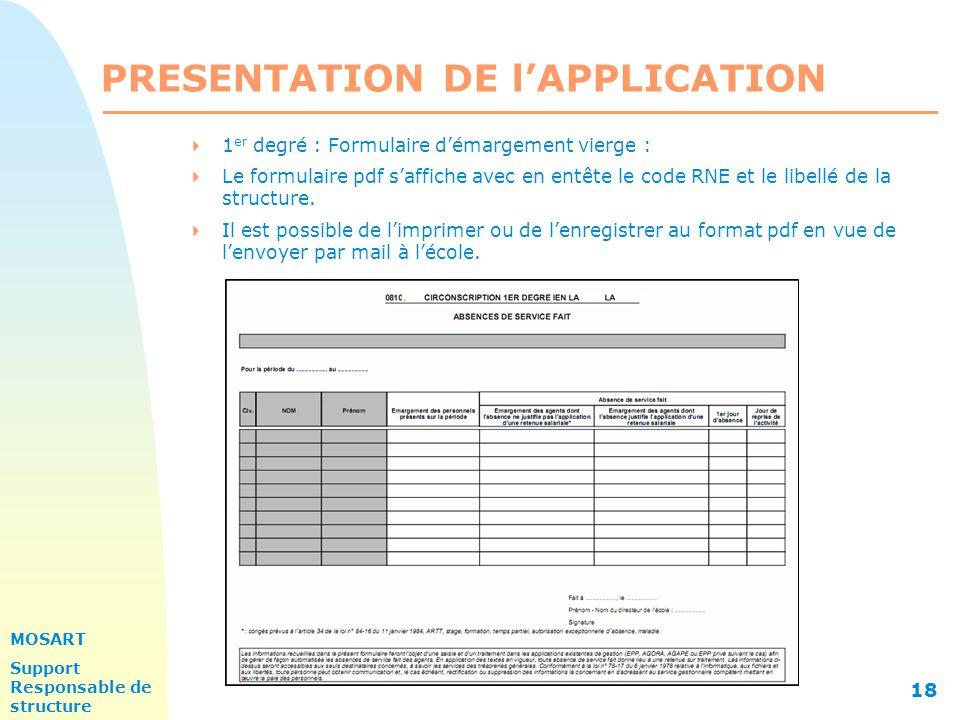 MOSART Support Responsable de structure 18 PRESENTATION DE l'APPLICATION  1 er degré : Formulaire d'émargement vierge :  Le formulaire pdf s'affiche avec en entête le code RNE et le libellé de la structure.