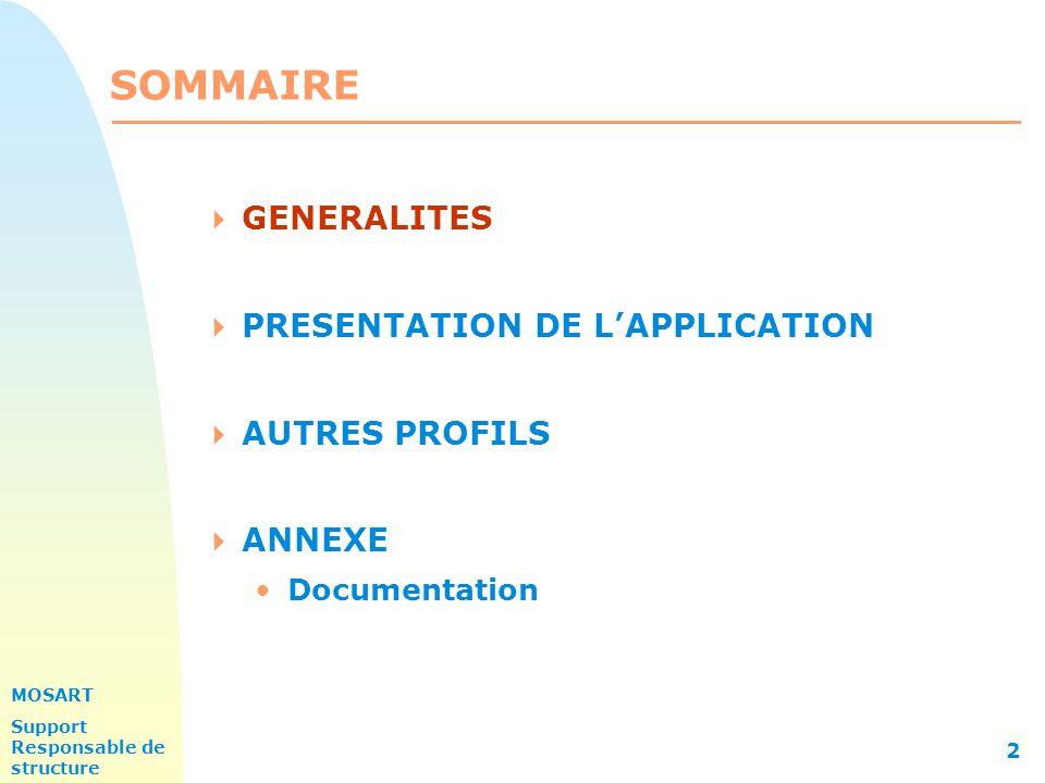 MOSART Support Responsable de structure 2 SOMMAIRE  GENERALITES  PRESENTATION DE L'APPLICATION  AUTRES PROFILS  ANNEXE Documentation