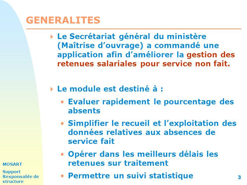 MOSART Support Responsable de structure 3 GENERALITES  Le Secrétariat général du ministère (Maîtrise d'ouvrage) a commandé une application afin d'améliorer la gestion des retenues salariales pour service non fait.
