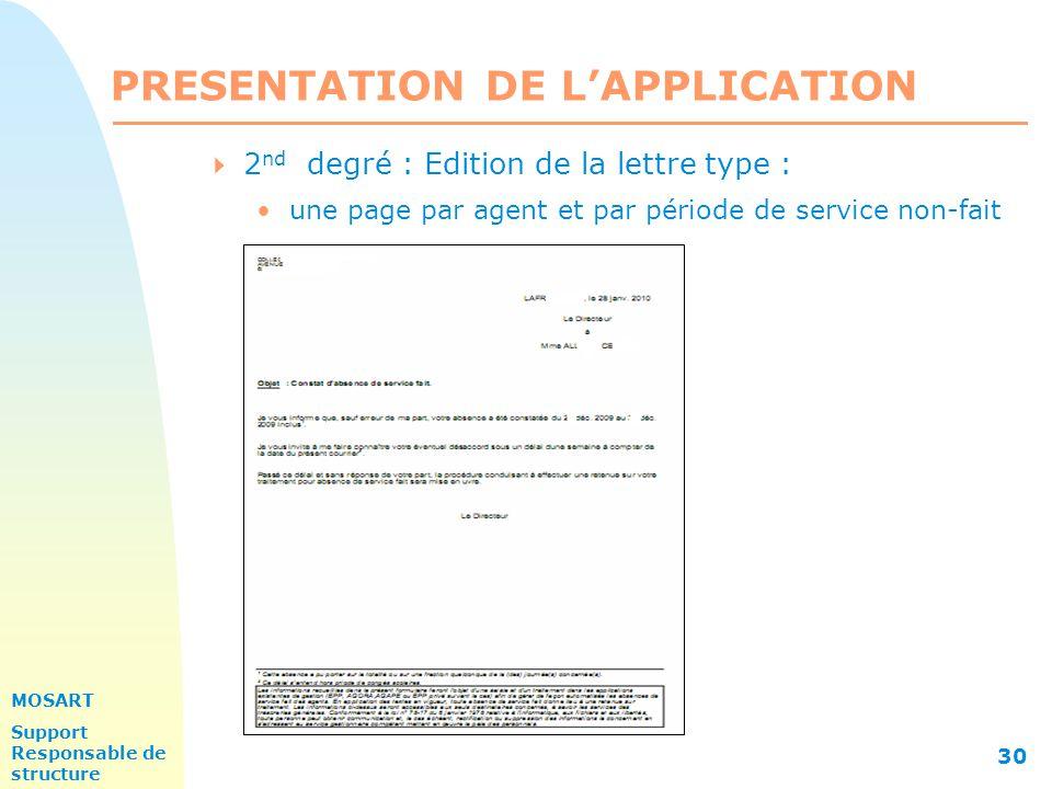 MOSART Support Responsable de structure 30 PRESENTATION DE L'APPLICATION  2 nd degré : Edition de la lettre type : une page par agent et par période de service non-fait