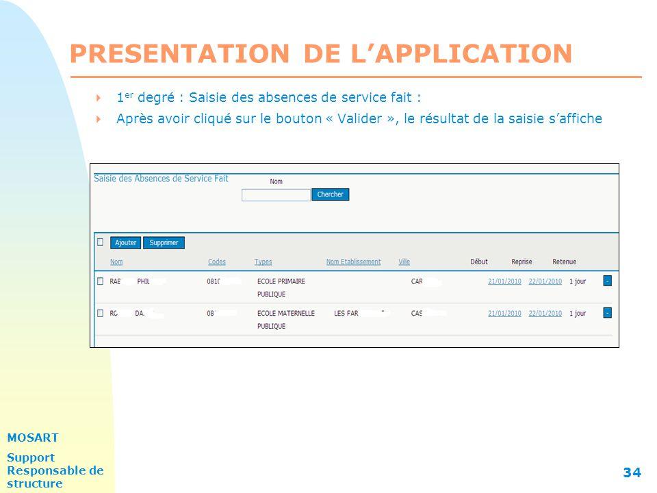 MOSART Support Responsable de structure 34 PRESENTATION DE L'APPLICATION  1 er degré : Saisie des absences de service fait :  Après avoir cliqué sur le bouton « Valider », le résultat de la saisie s'affiche
