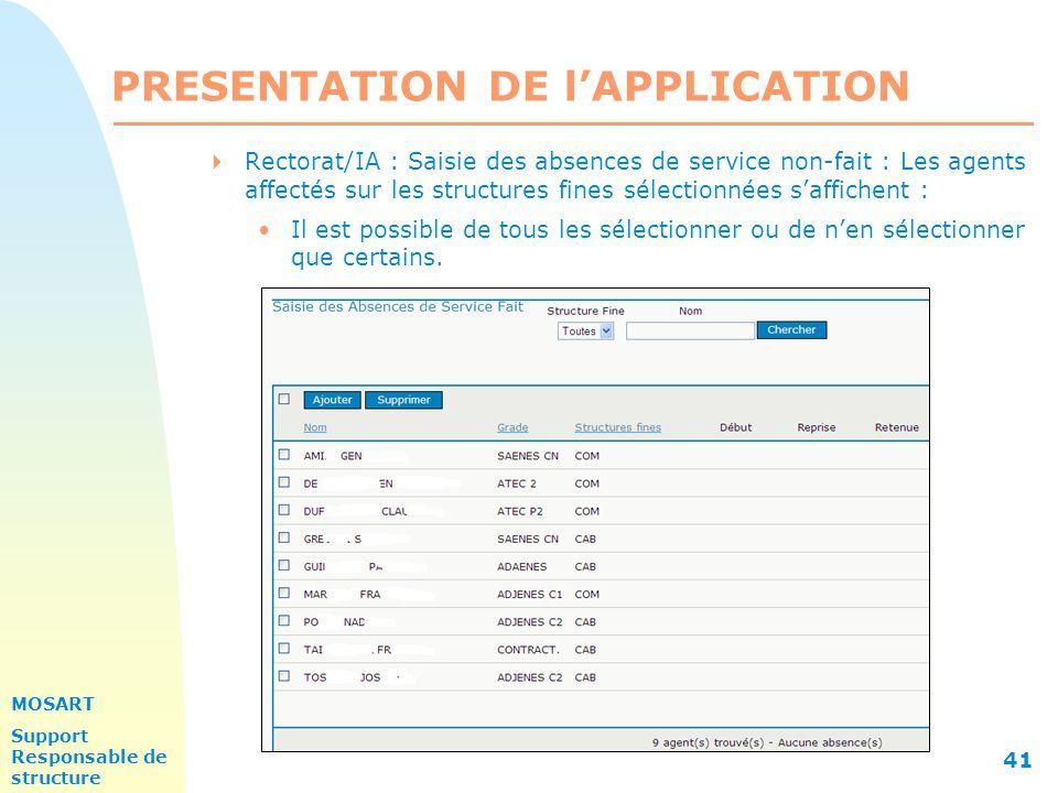 MOSART Support Responsable de structure 41 PRESENTATION DE l'APPLICATION  Rectorat/IA : Saisie des absences de service non-fait : Les agents affectés sur les structures fines sélectionnées s'affichent : Il est possible de tous les sélectionner ou de n'en sélectionner que certains.