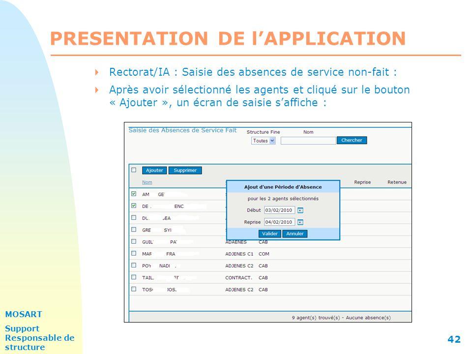 MOSART Support Responsable de structure 42 PRESENTATION DE l'APPLICATION  Rectorat/IA : Saisie des absences de service non-fait :  Après avoir sélectionné les agents et cliqué sur le bouton « Ajouter », un écran de saisie s'affiche :