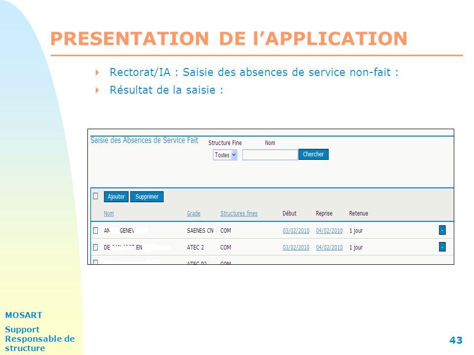 MOSART Support Responsable de structure 43 PRESENTATION DE l'APPLICATION  Rectorat/IA : Saisie des absences de service non-fait :  Résultat de la saisie :