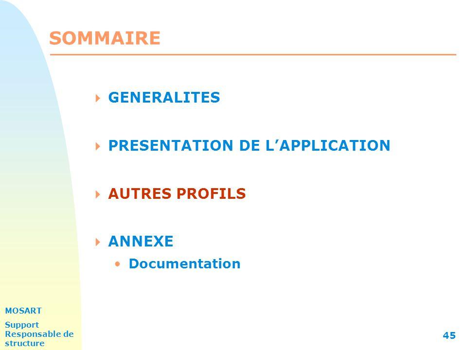 MOSART Support Responsable de structure 45 SOMMAIRE  GENERALITES  PRESENTATION DE L'APPLICATION  AUTRES PROFILS  ANNEXE Documentation