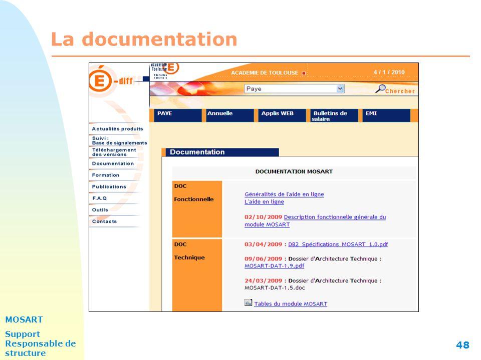 MOSART Support Responsable de structure 48 La documentation