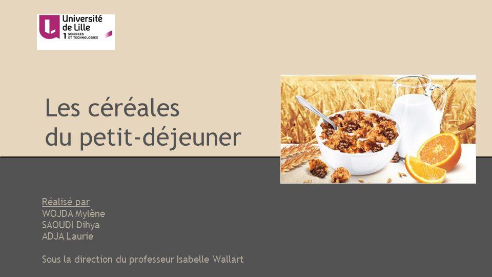Les céréales du petit-déjeuner Réalisé par WOJDA Mylène SAOUDI Dihya ADJA Laurie Sous la direction du professeur Isabelle Wallart