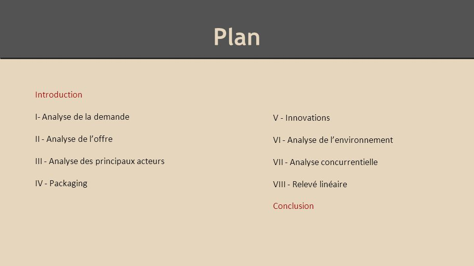Plan Introduction I- Analyse de la demande II - Analyse de l'offre III - Analyse des principaux acteurs IV - Packaging V - Innovations VI - Analyse de
