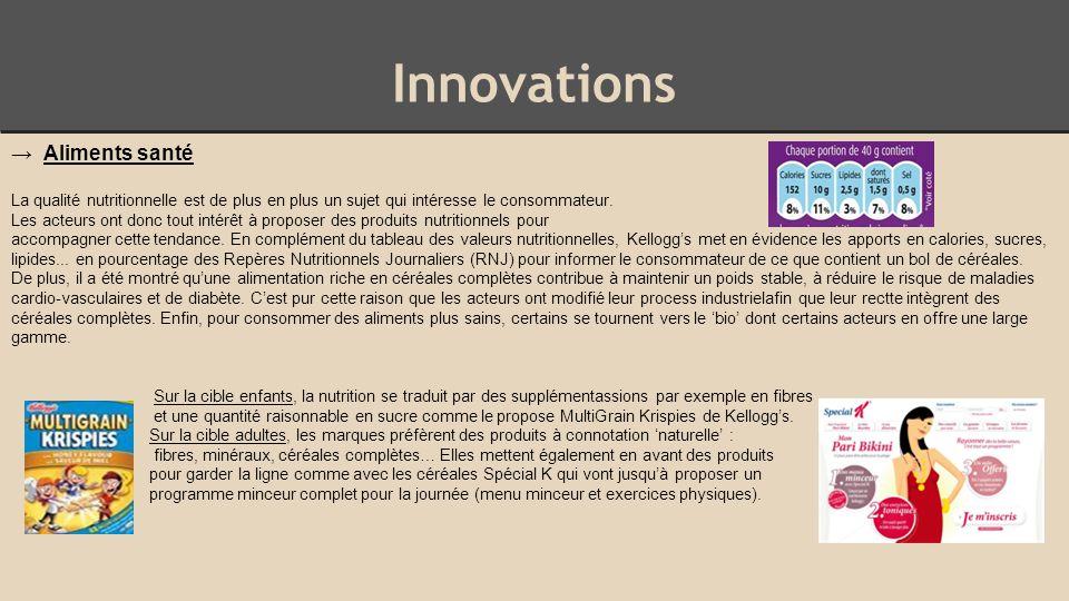 Innovations → Aliments santé La qualité nutritionnelle est de plus en plus un sujet qui intéresse le consommateur.