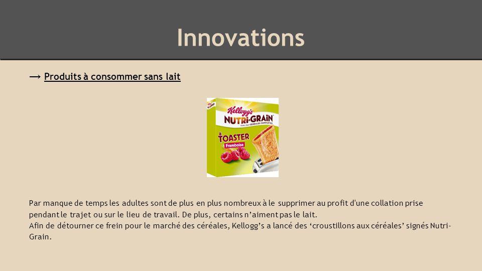 Innovations → Produits à consommer sans lait Par manque de temps les adultes sont de plus en plus nombreux à le supprimer au profit d une collation prise pendant le trajet ou sur le lieu de travail.