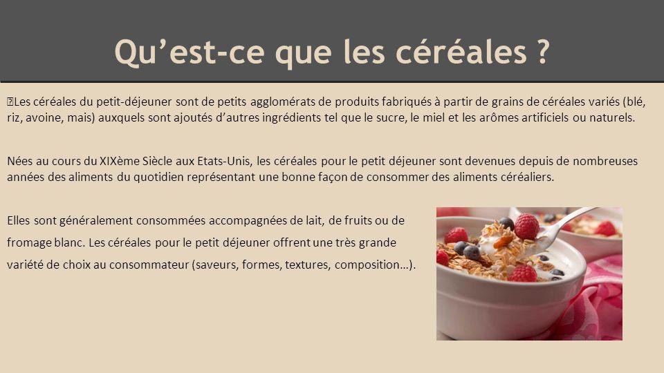 Avantages - > Les céréales ont conquis les enfants de part leur facilité de consommation puisque ceux-ci n'ont pas besoin d'aide pour se servir.