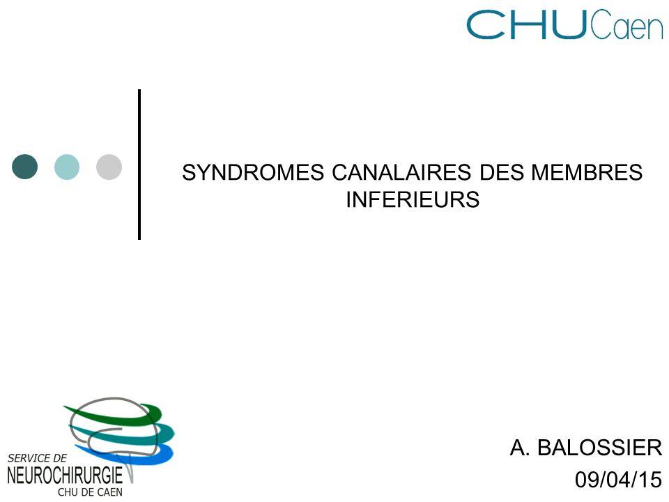 SYNDROMES CANALAIRES DES MEMBRES INFERIEURS A. BALOSSIER 09/04/15