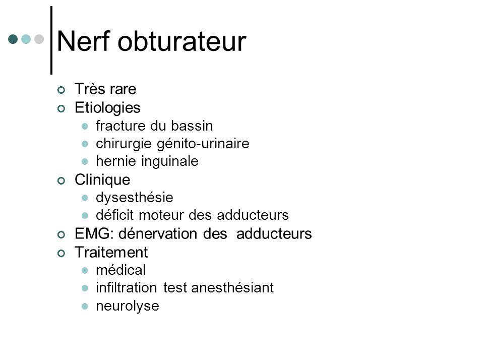 Nerf obturateur Très rare Etiologies fracture du bassin chirurgie génito-urinaire hernie inguinale Clinique dysesthésie déficit moteur des adducteurs