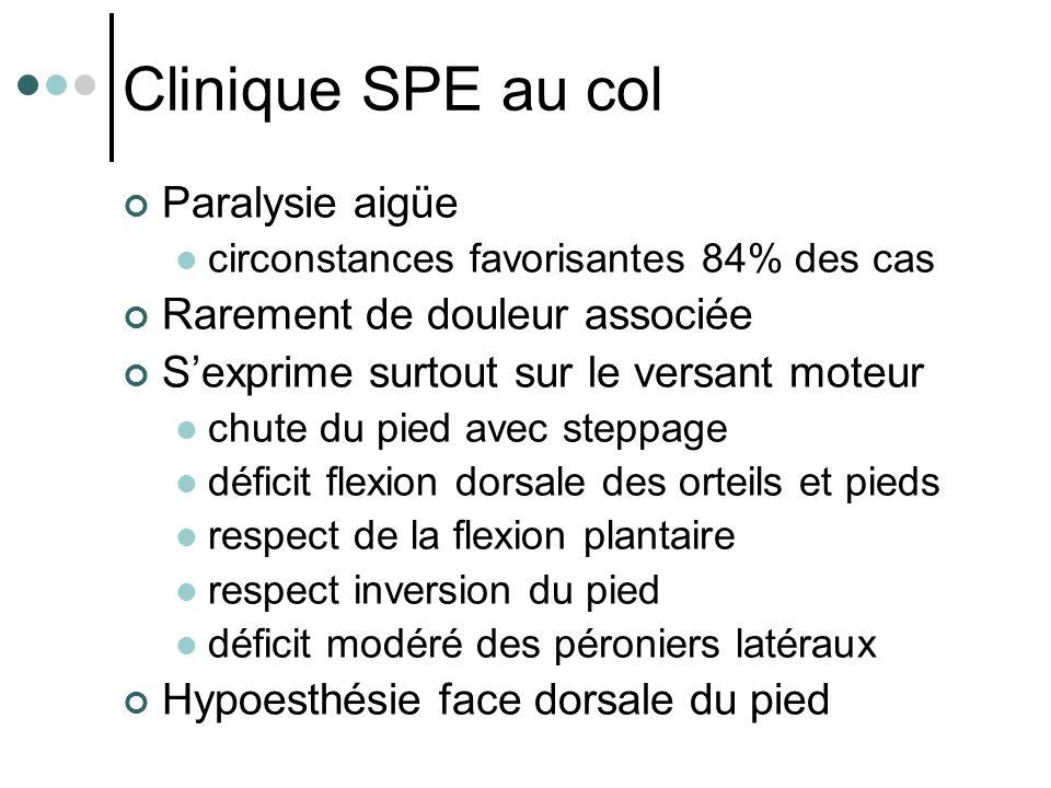 Clinique SPE au col Paralysie aigüe circonstances favorisantes 84% des cas Rarement de douleur associée S'exprime surtout sur le versant moteur chute