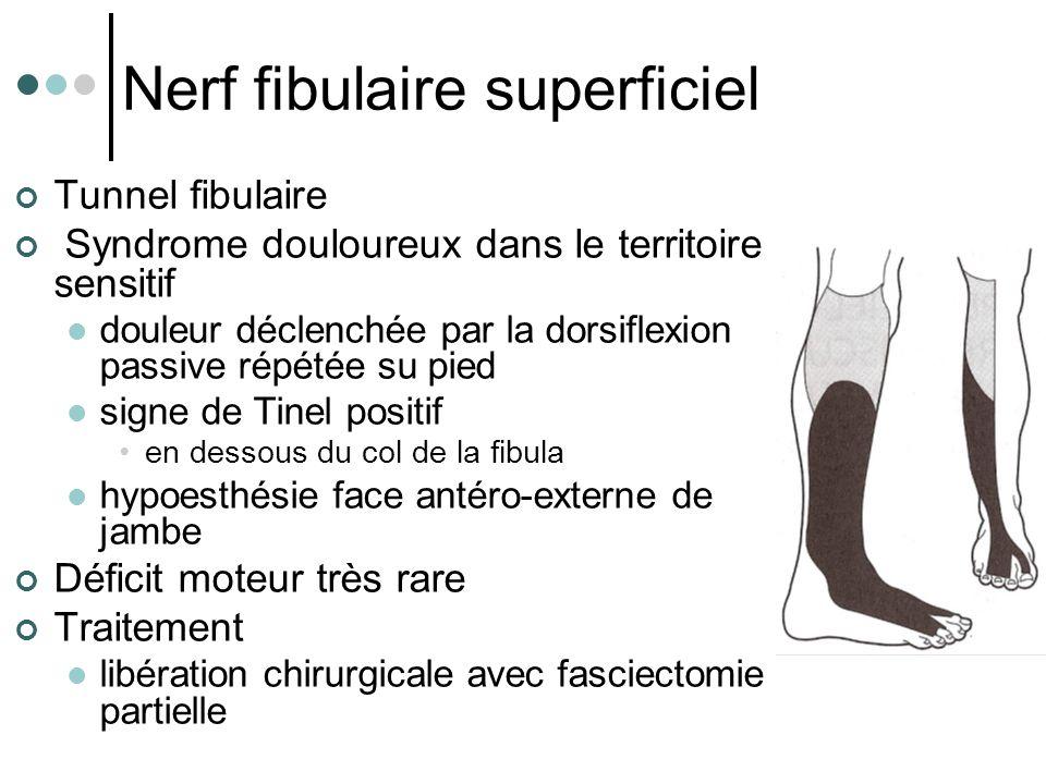 Nerf fibulaire superficiel Tunnel fibulaire Syndrome douloureux dans le territoire sensitif douleur déclenchée par la dorsiflexion passive répétée su