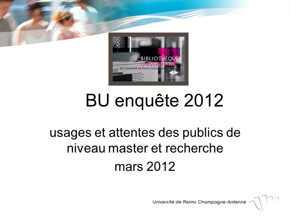BU enquête 2012 usages et attentes des publics de niveau master et recherche mars 2012