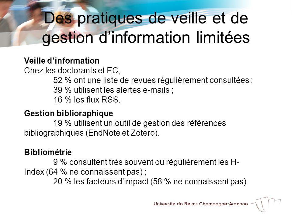 Des pratiques de veille et de gestion d'information limitées Veille d'information Chez les doctorants et EC, 52 % ont une liste de revues régulièrement consultées ; 39 % utilisent les alertes e-mails ; 16 % les flux RSS.