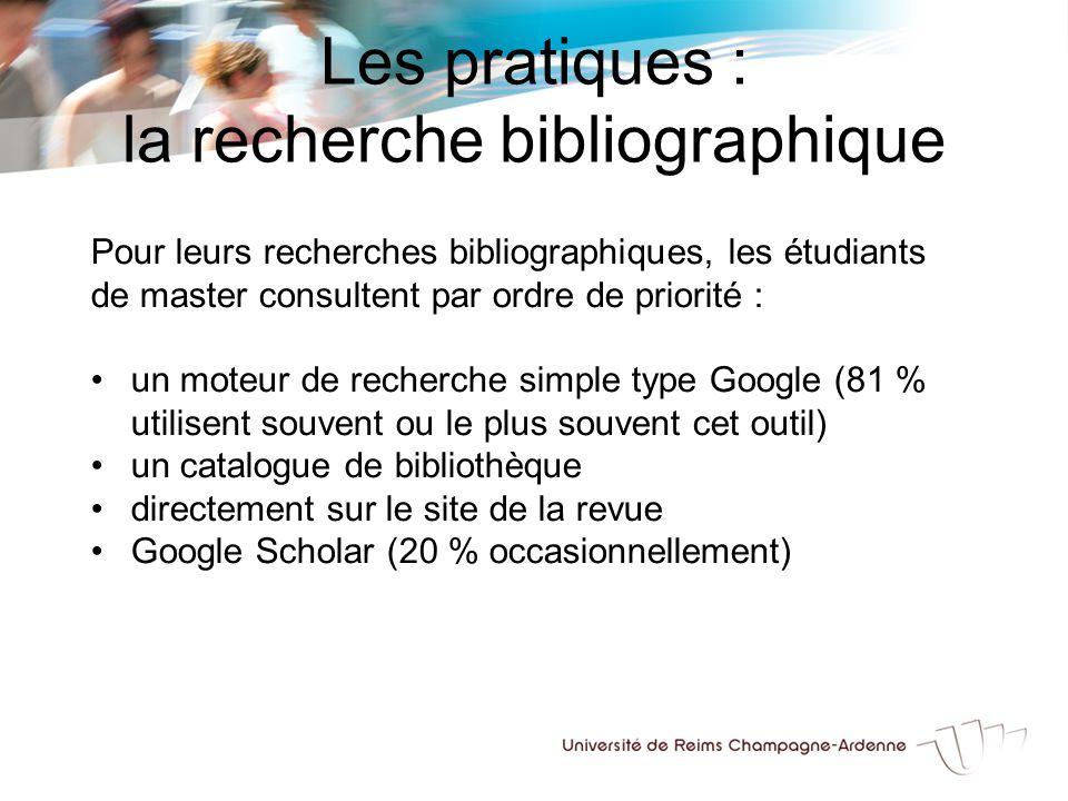 Les pratiques : la recherche bibliographique Pour leurs recherches bibliographiques, les étudiants de master consultent par ordre de priorité : un moteur de recherche simple type Google (81 % utilisent souvent ou le plus souvent cet outil) un catalogue de bibliothèque directement sur le site de la revue Google Scholar (20 % occasionnellement)