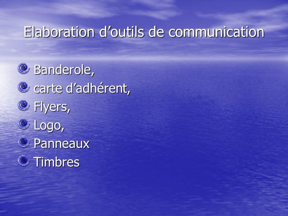 Elaboration d'outils de communication Banderole, Banderole, carte d'adhérent, carte d'adhérent, Flyers, Flyers, Logo, Logo, Panneaux Panneaux Timbres Timbres