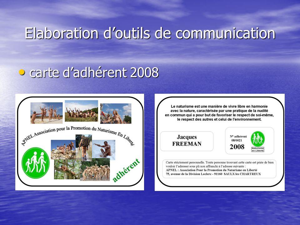 Elaboration d'outils de communication carte d'adhérent 2008 carte d'adhérent 2008