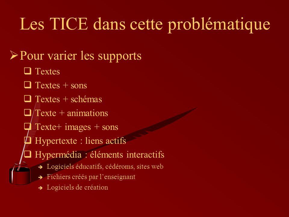 Les TICE dans cette problématique ØPour varier les supports  Textes  Textes + sons  Textes + schémas  Texte + animations  Texte+ images + sons  Hypertexte : liens actifs  Hypermédia : éléments interactifs  Logiciels éducatifs, cédéroms, sites web  Fichiers créés par l'enseignant  Logiciels de création
