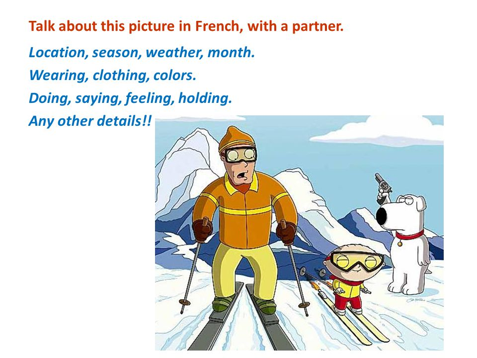 Talk about this picture in French, with a partner.