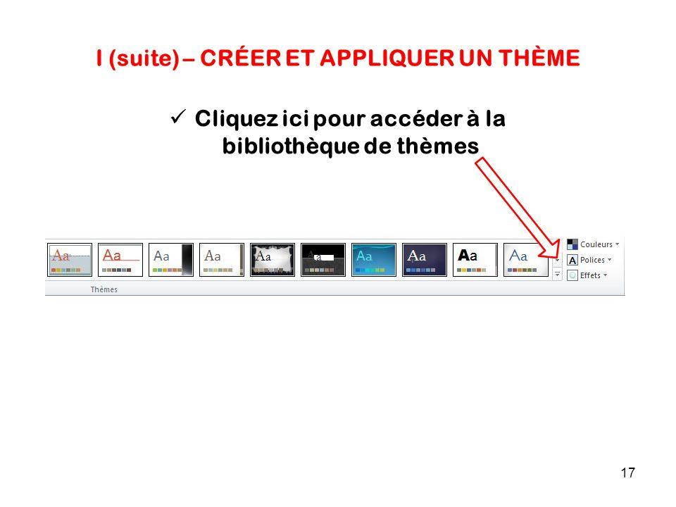 17 I (suite) – CRÉER ET APPLIQUER UN THÈME Cliquez ici pour accéder à la bibliothèque de thèmes
