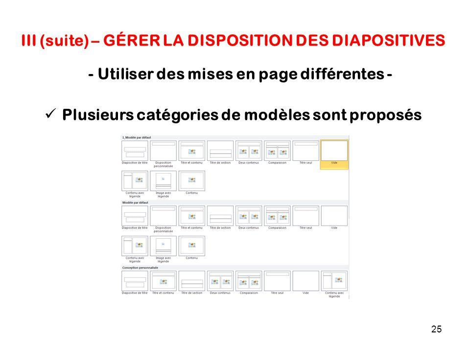25 III (suite) – GÉRER LA DISPOSITION DES DIAPOSITIVES - Utiliser des mises en page différentes - Plusieurs catégories de modèles sont proposés